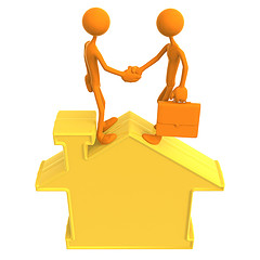 3D illustration of realtor and client shaking hands